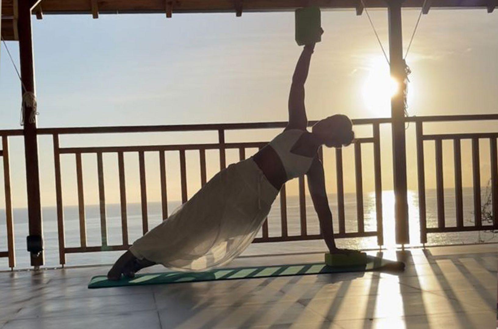 Yoga on the yoga deck